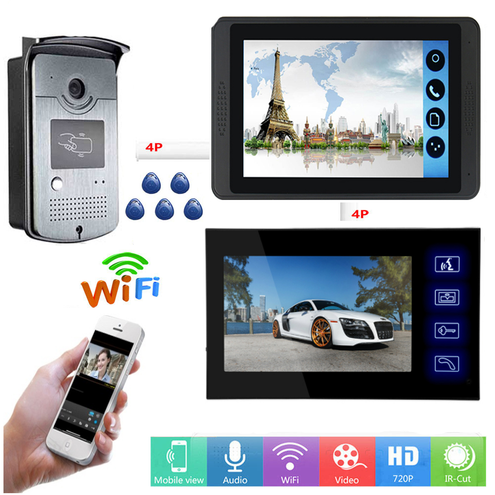 RFID Access Control Video Intercom 7 Inch LCD Wifi Wireless Video Door Phone Doorbell Visual Intercom System APP Remote Unlock