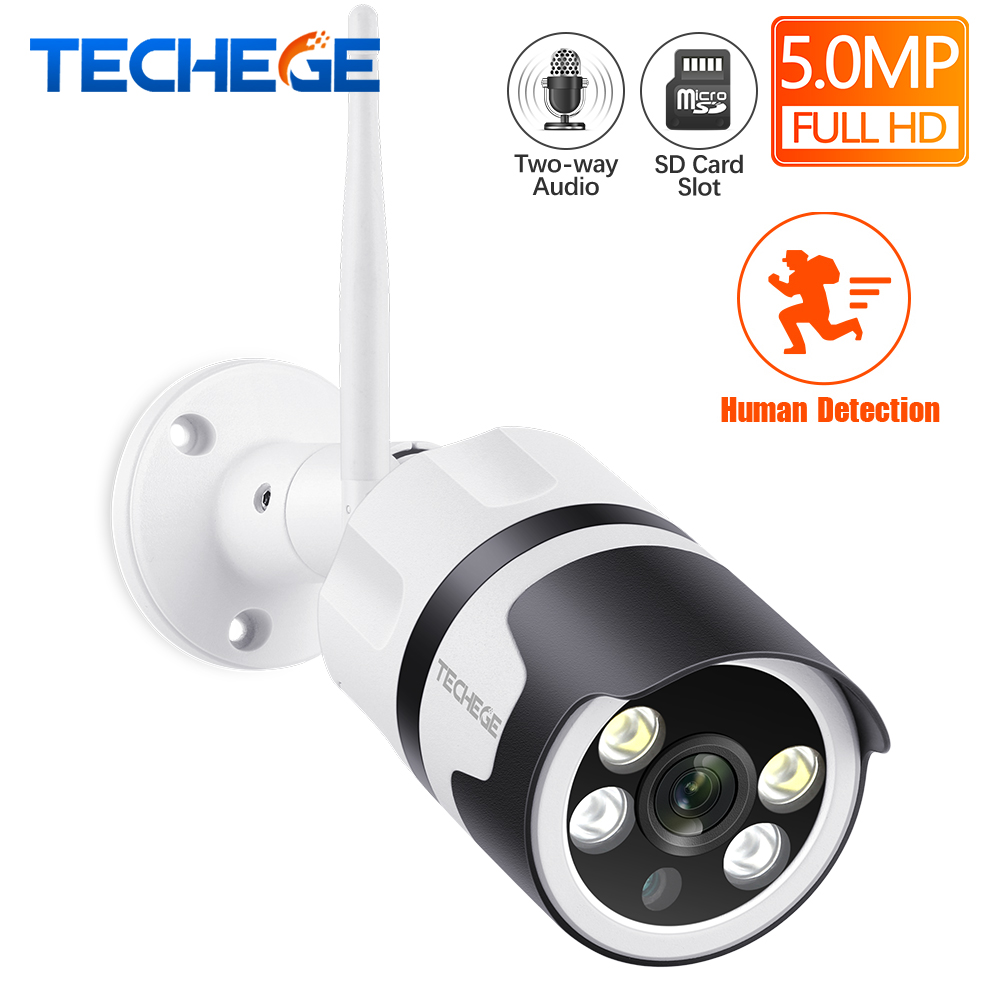 Techege Super HD 5.0MP Wifi IP Camera Outdoor Waterproof Wired Wireless Security Camera Metal Two Way Audio TF Card Email Alert