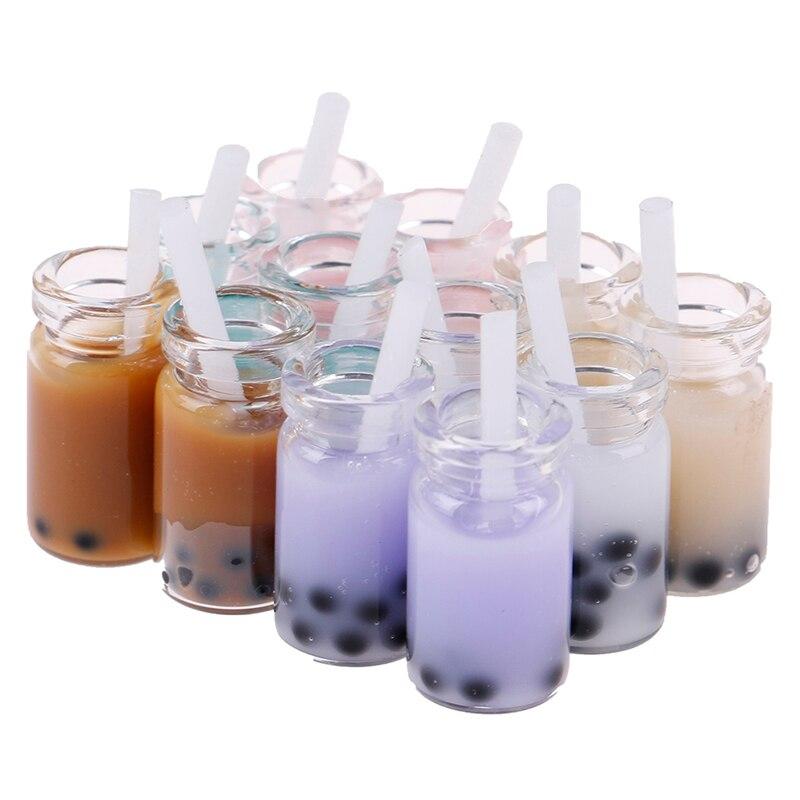 2pcs Mini Water Cup Simulation Cup Drink Pearl Milk Tea Milkshake DollHouse Kitchen Kids Toy S Dollhouse Miniature Accessories