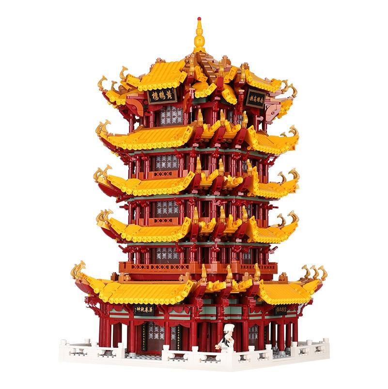 6794 pçs arquitetura famosa amarelo guindaste torre blocos de construção compatível legoedly montar brinquedos educativos presentes para crianças