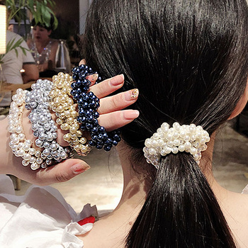 New Women Girls Elegant Colorful All Pearls Elastic Hair Bands Sweet Hair Ornament Headband Scrunchie Fashion Hair Accessories image