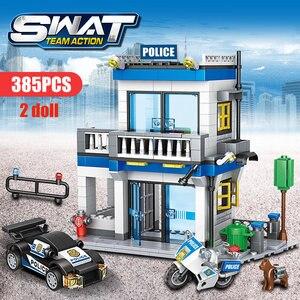 Image 4 - 746 Uds comisaría de policía de bloques de construcción de helicóptero militar SWAT WW2 coche equipo de ladrillos juguetes educativos para niños