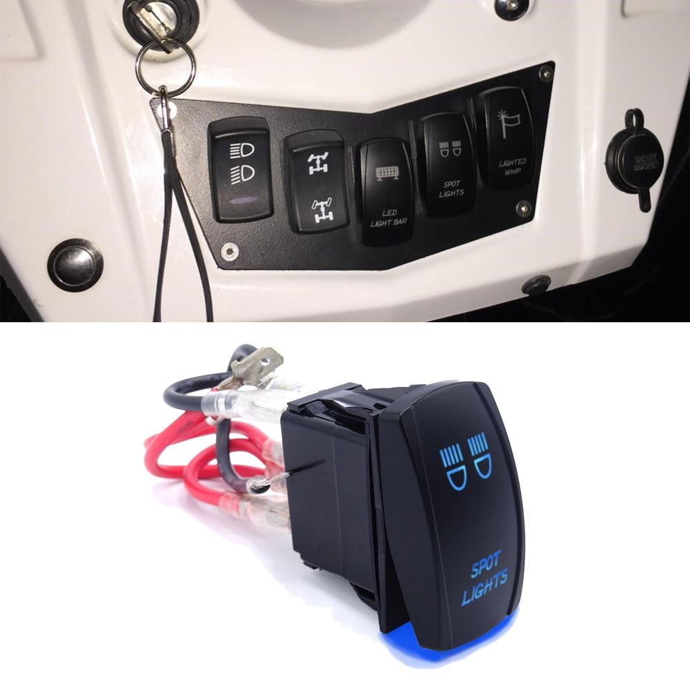 Лазерный Светодиодный точечный светильник s переключатель 5 Pin ВКЛ-ВЫКЛ синий светодиодный светильник кнопка переключения 20A/12V подходит
