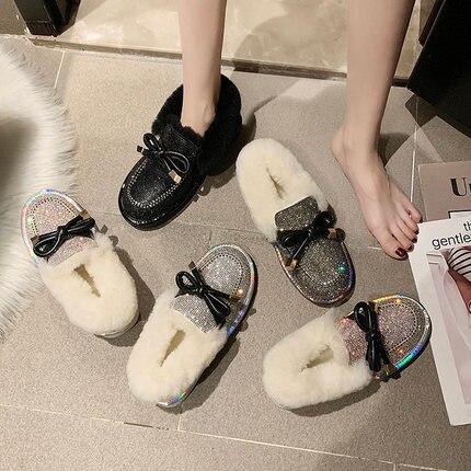 Lamb hair full of snow boots female 2019 winter fur flat bottom plus velvet lazy boots 29