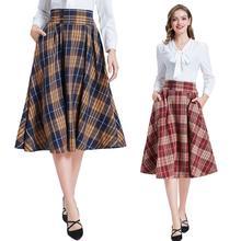 בל Poque אנגליה סגנון 2020 סתיו נשים אלגנטי משובץ חצאיות נשים קפלים גבוהה מותן קוריאני משרד Midi חצאית Streetwear