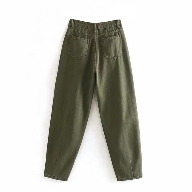 Aachoae Women Streetwear Pleated Mom Jeans High Waist Loose Slouchy Jeans Pockets Boyfriend Pants Casual Ladies Denim Trousers 4