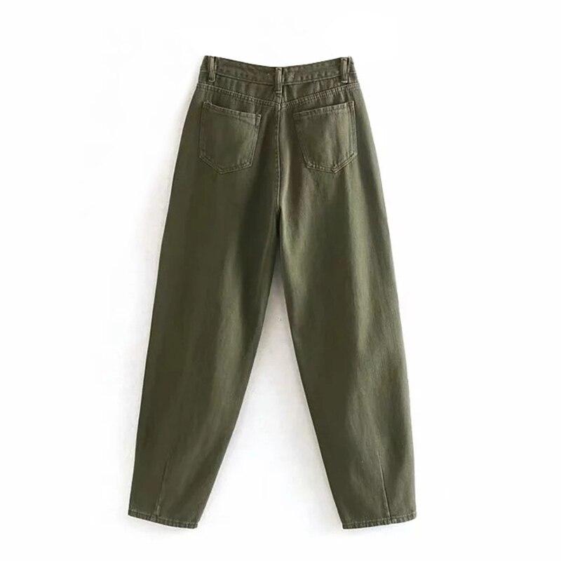 Aachoae-pantalones vaqueros plisados Mom para mujer, holgados de Vaqueros cintura alta, vaqueros con bolsillos para novio, pantalones vaqueros informales para mujer