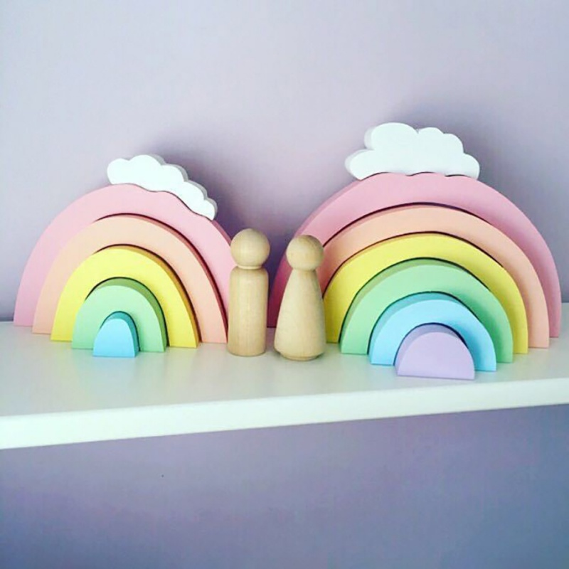 Rainbow Wooden Building Blocks Stacker Nesting Baby Children Play Game Toys Kids Gifts Baby Room Ornament Wall Party Decoration