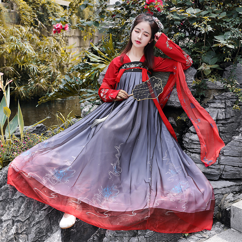 2020 Hanfu Chinese Style Ancient Costume Traditional Folk Dance Stage Performance Clothing Retro Singers Princess Fairy Dress