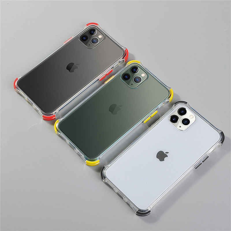 Shockproof Transparante Telefoon Gevallen Voor Iphone 11 11 Pro Max Xr Xs Max X 8 7 6 6S Plus bumper Zachte Siliconen Anti-Fall Back Cover