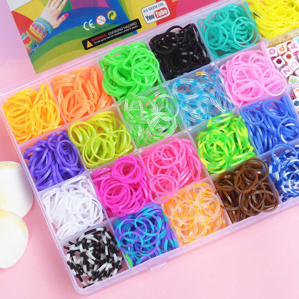 1500pcs Rubber Loom Bands Kit Rainbow Children DIY Toys Kids Make Woven Bracelet