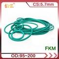 Фтор резиновое уплотнительное кольцо 1 шт./лот зеленый запечатывание FKM CS 5,7 мм OD95/100/110/125/140/160/175/200/220 мм-хомут с круглым воротником для мальчик...