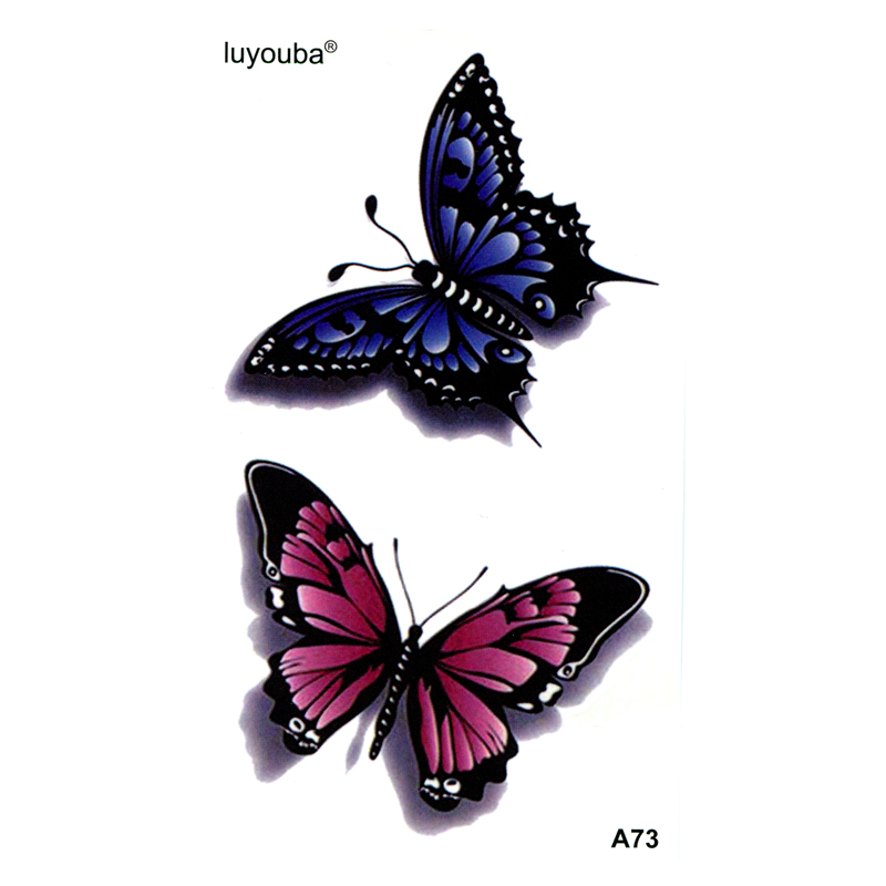 Red/Blue Butterfly Waterproof Temporary Tattoo Sticker Henna Tatoo Body Sticker Fake Tattoo The Flash Tatuajes Temporales