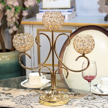 Crystal Gold Candlestick European Luxury Glass Wedding Candlestick Romantic Table Dinner Bougeoir Mariage Home Decoration DD60ZT