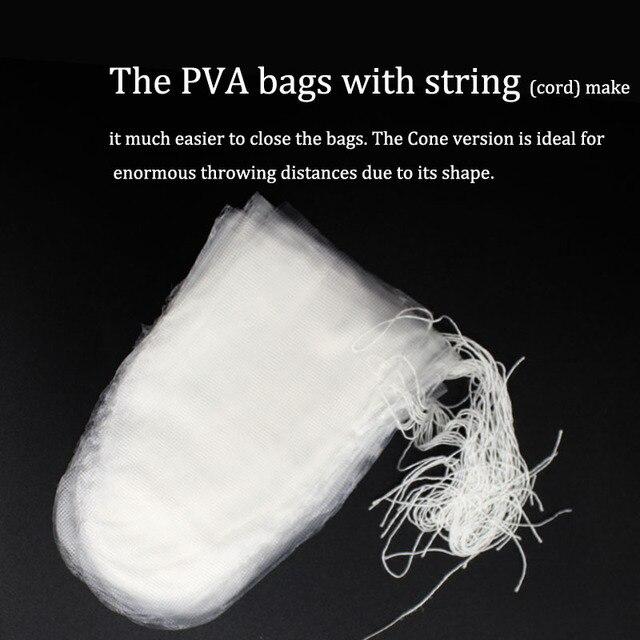 20 pièces accessoires de pêche à la carpe sattaquer au sac de PVA en forme de cône avec ligne de ficelle