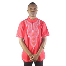 Africa Vintage Embroidery Men`s Ethnic Tops Summer Side Slit Dashiki Shirts for Wedding