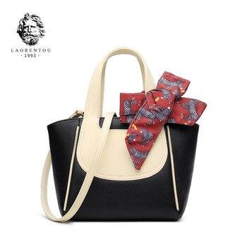 LAORENTOU New women Leather bag fashion patchworl tote handbags quality cowhide bag women leather shoulder Crossbody bag