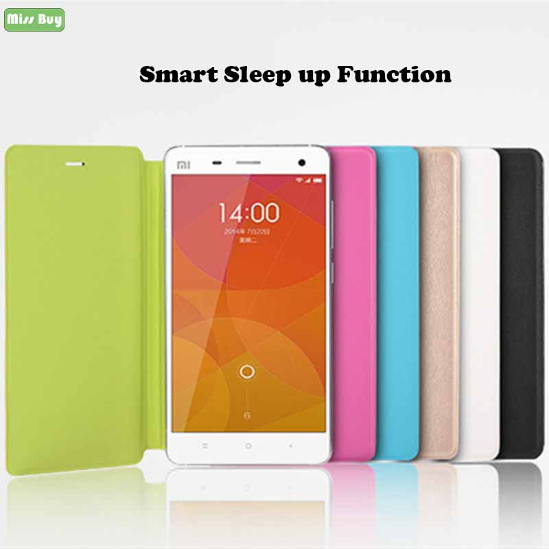 Smart Case for Xiaomi mi 4s Leather Flip Stand Sleep up function Cover 4 s mi4s mi4 Coque