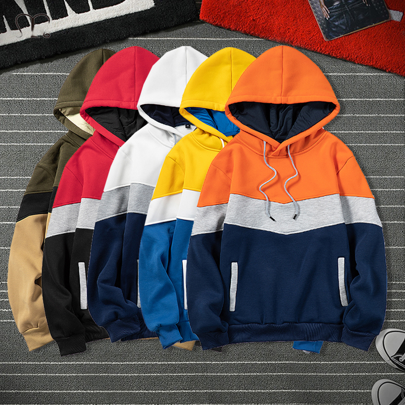 Fashion Brand Men Hoodies 2020 Winter Autumn Warm Fleece Male Casual Hoodie Sweatshirts Men's Patchwork Streetwear Tops Big Size