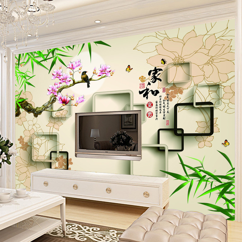 Home And Chinese Style 3D Large Mural Living Room Sofa TV Backdrop Wallpaper Bedroom Seamless Wallpaper