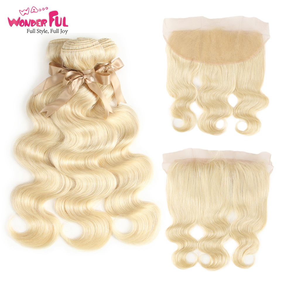 Blonde 613 Bundles With Frontal Closure Human Hair Bundles With Frontal Closure Brazilian Body Wave Hair