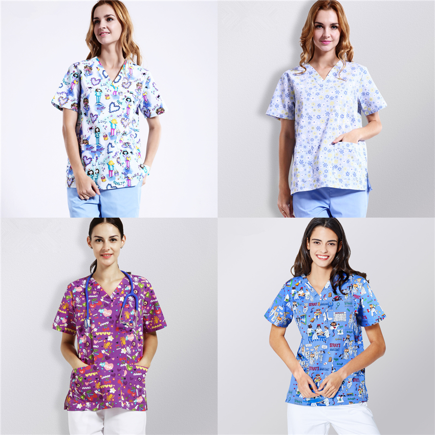 Women Scrub Tops Medical Uniforms Nurse Print Short Sleeve Summer Surgical Clothing Hospital Work Wear Adult Scrubs