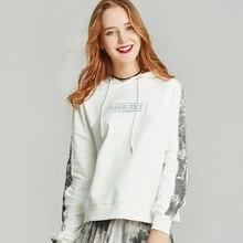 HAVVA осень и зима белый пуловер с капюшоном женский свободный лоскутный джемпер с капюшоном V3145
