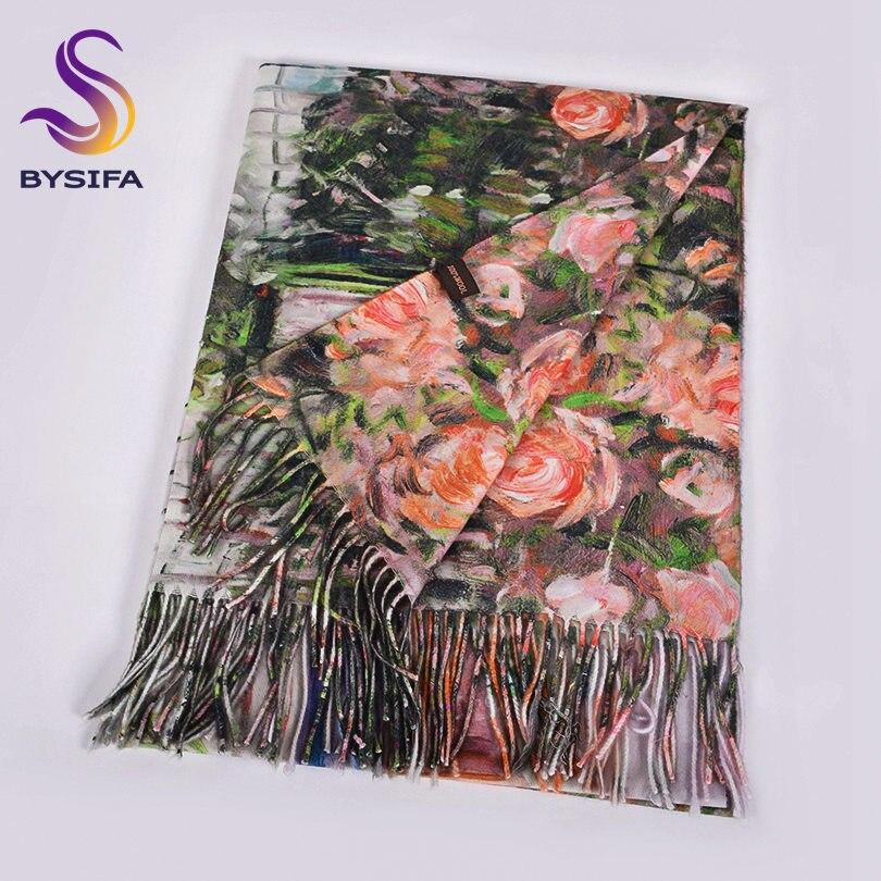 [BYSIFA] Green Pink Rose Women Scarves Shawls Luxury Brand Female Cashmere Pashmina Scarves Thicken Warm Neck Head Scarf200*70cm