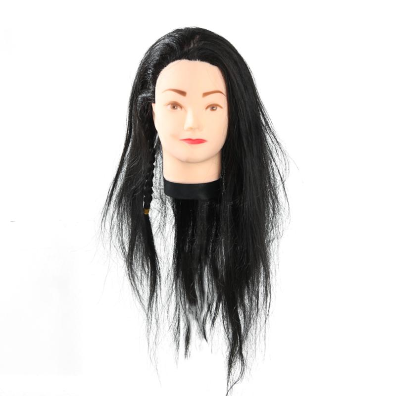 Professional Hairdressing Training Mannequin Practice Head 65cm Black Hair