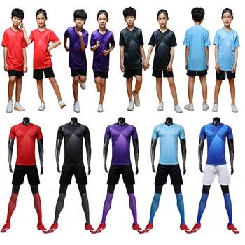 Camiseta de fútbol púrpura de manga corta para hombre, conjunto de uniforme de fútbol rojo, camiseta de fútbol azul para niños, jersey deportivo para correr, número de nombre personalizado