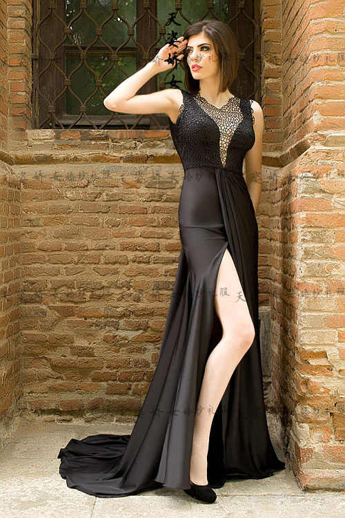 Free Shipping Robe De Soiree 2018 New Fashion Sexy Black Long Vestido De Festa Curto Imported Party Formal Bridesmaid Dresses