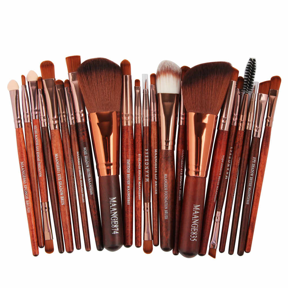 22pcs High Quality Brushes Brown Cosmetic Makeup Brush Blusher Eye Shadow Brushes Set Kit Valentine's Day Beauty Tools