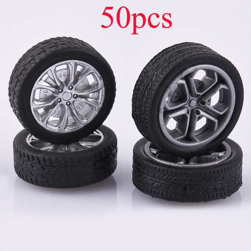 50PCS DIY Toys Parts Rubber Wheels Dia 26mm/28mm Mini Tires Aperture 2mm Simulation Tyres Thickness 0.8mm For Small RC Car Model