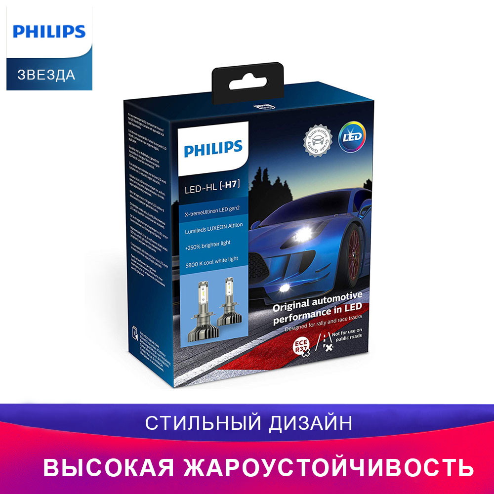 Philips лампы для авто X-tremeUltinon LED лампочки 11972XUWX2 H7 Дальний свет Ближний свет фары для авто примерка