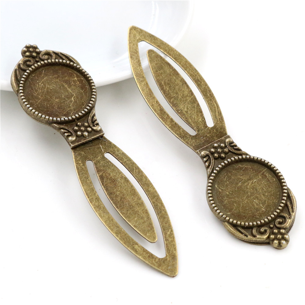New Fashion 2pcs 18mm Inner Size Antique Bronze Vintage Style Handmade Bookmark Cabochon Base  Cameo Setting (I1-05)
