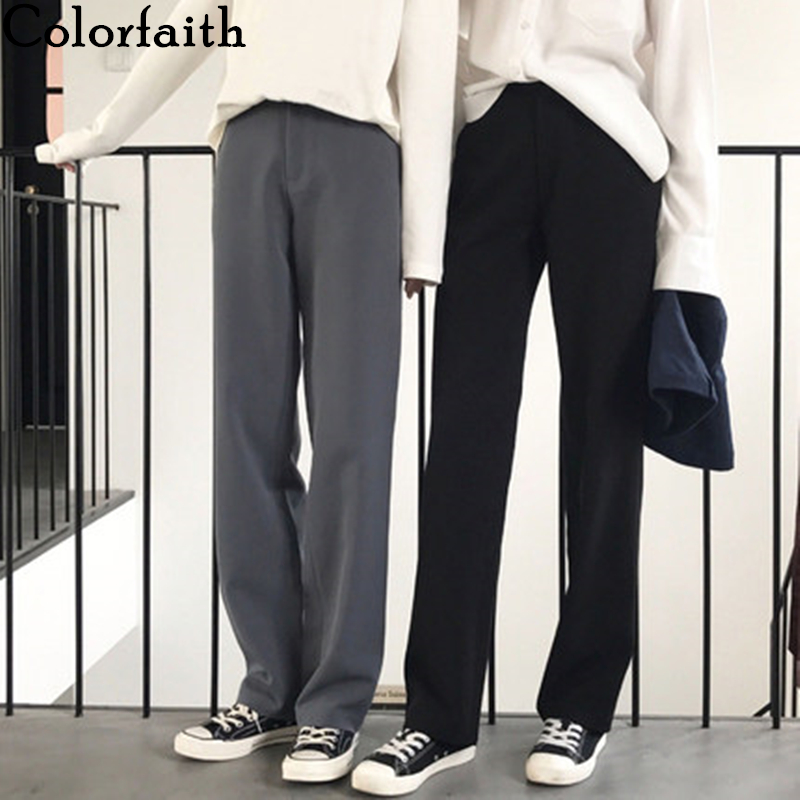 Colorfaith 2019 Autumn Winter Women Pants Straight High Waist Loose Knitting Office Korean Style Casual Black Long Pants P9060