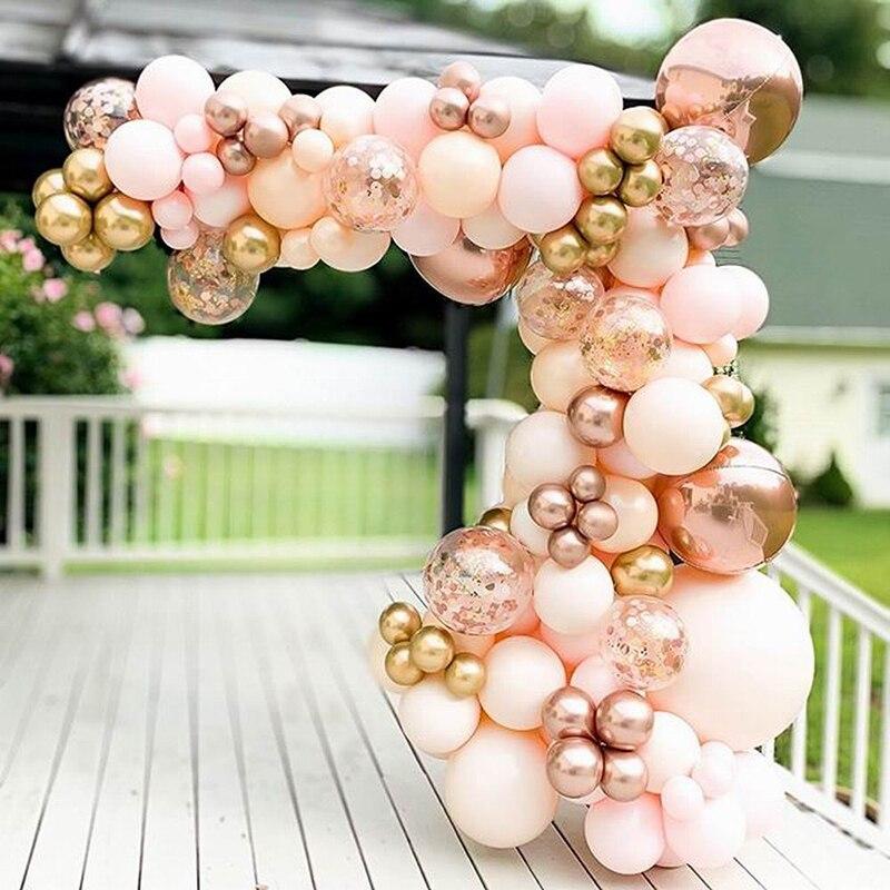96 adet Morandi şeftali balon Garland Arch kiti krom gül altın 4D balon bebek duş düğün doğum günü partisi dekoru globos