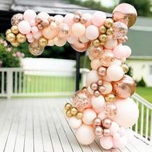 96 pçs morandi pêssego balão guirlanda arco kit cromo ouro rosa 4d ballon para o chuveiro do bebê decoração festa de aniversário casamento globos
