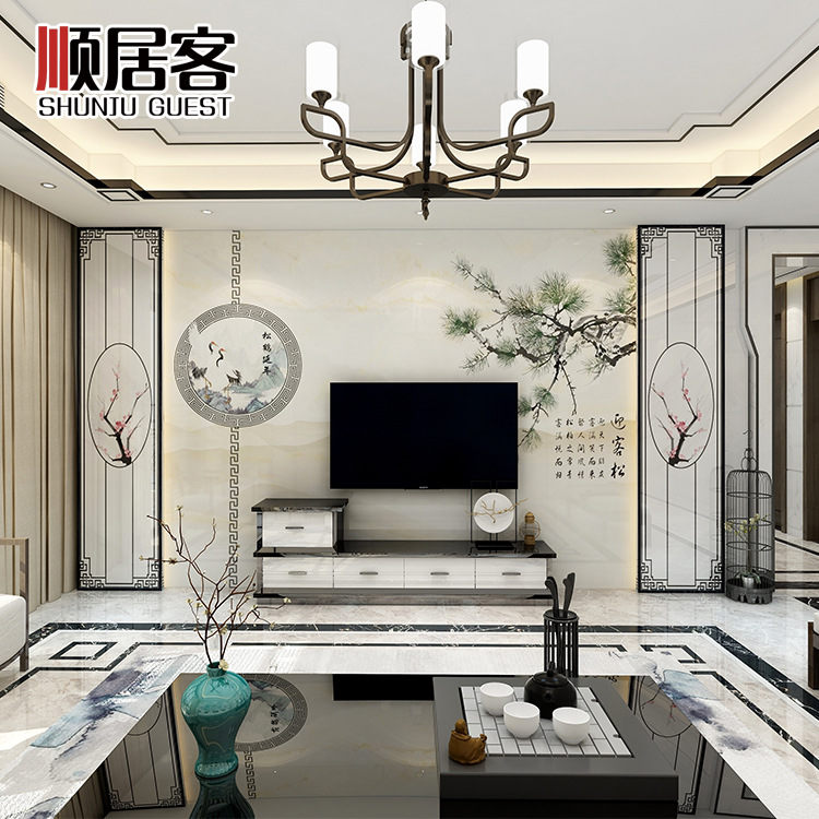 Manufacturers Direct Selling TV Backdrop Tile Stone Material Ink Penetration Big Board New Chinese Style Yingkesong Shadow Plast