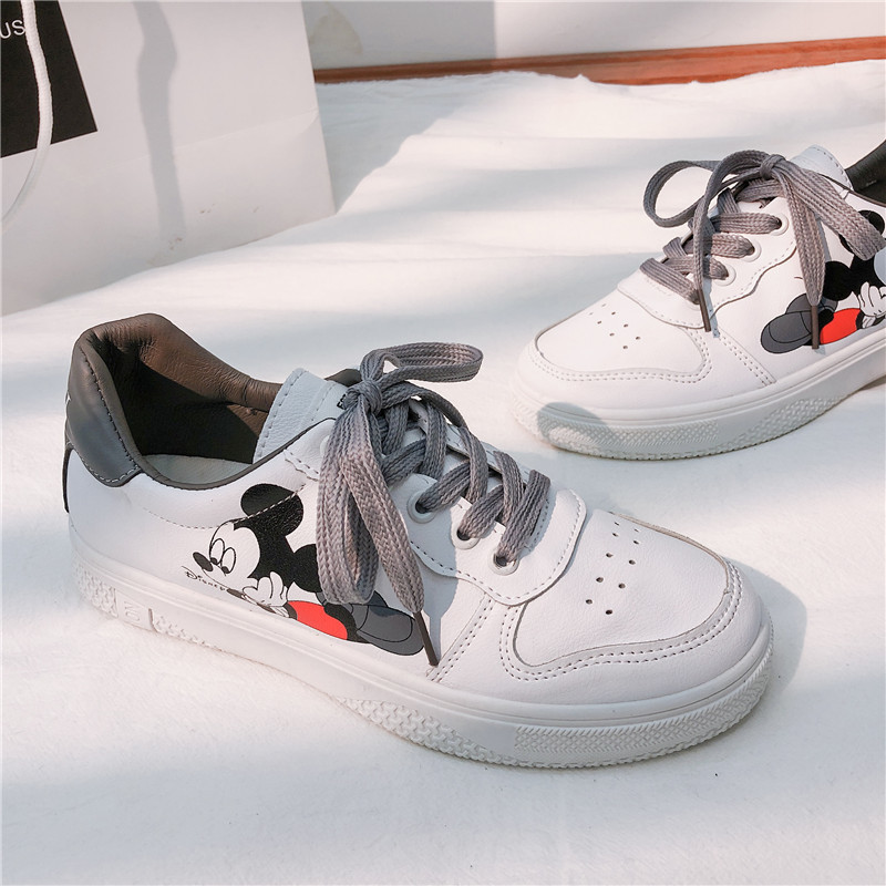 2020 Spring New Mickey White Shoes Female Mickey Mouse Retro Student Casual Shoes Women Sneakers