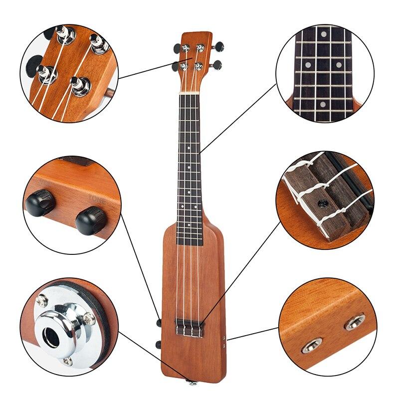 Naomi naturel 23 pouces okoumé électrique ukulélé Uke Kit avec Gig sac 3.5Mm câble Audio silencieux électrique ukulélé Concert Uke - 5