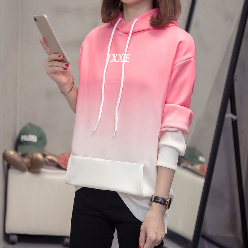 DONAMOL Plus Size Women's Clothes Loose Hoodies Fleece Catching Casual Student Dress Gradual Change Autumn With Pocket Tracksuit