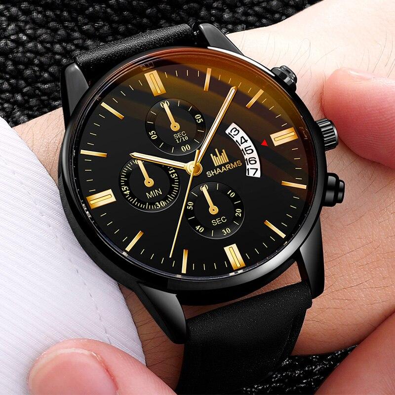 2020 Relogio Masculino Watch Men's Calendar Fashion Sport Frame Stainless Steel Leather Strap Quartz Business Watch Reloj Hombre