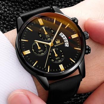Relogio Masculino watches men fashion Sport box stainless steel leather band watch Quartz business wristwatch Reloj Hombre 2019 цена 2017