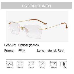 Image 5 - Männer Rechteckigen Rimeless Brillen Rahmen Leichte Klare Linse Optische Brillen Ultra Leichte Leser für Männer Frauen