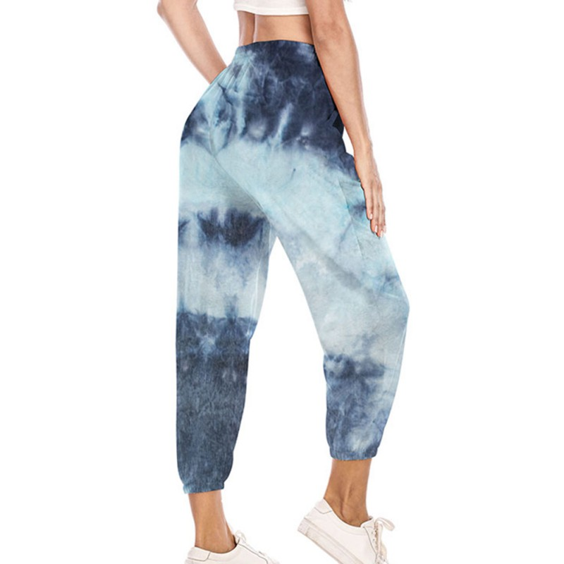 Women Pants Casual Loose Long Trousers Elastic High Waist Pants Capris Joggers Tie Dye Printed Sweatpants Streetwear