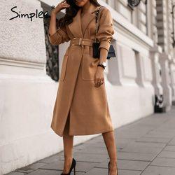 Simplee senhora do escritório camelo outono inverno feminino casaco de lã alta rua moda manga longa casaco elegante bolso outwear com cinto
