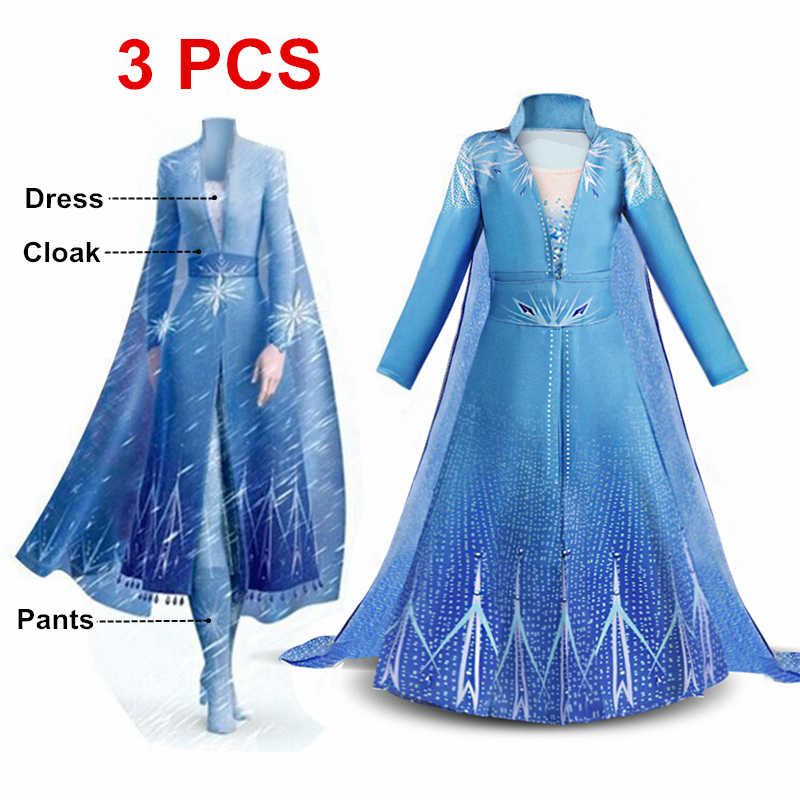 New Dress For Girls Clothing Elsa 2 Princess Set Christmas Cosplay Elsa Birthday Party Sky Blue Princess Dress 4-10 years old