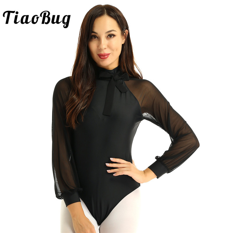 <font><b>TiaoBug</b></font> Fashion Women Dancewear Mock Neck Mesh Long Sleeves Cutout Back Gymnastics Leotard Bodysuit Adult Ballet Dance Costume image