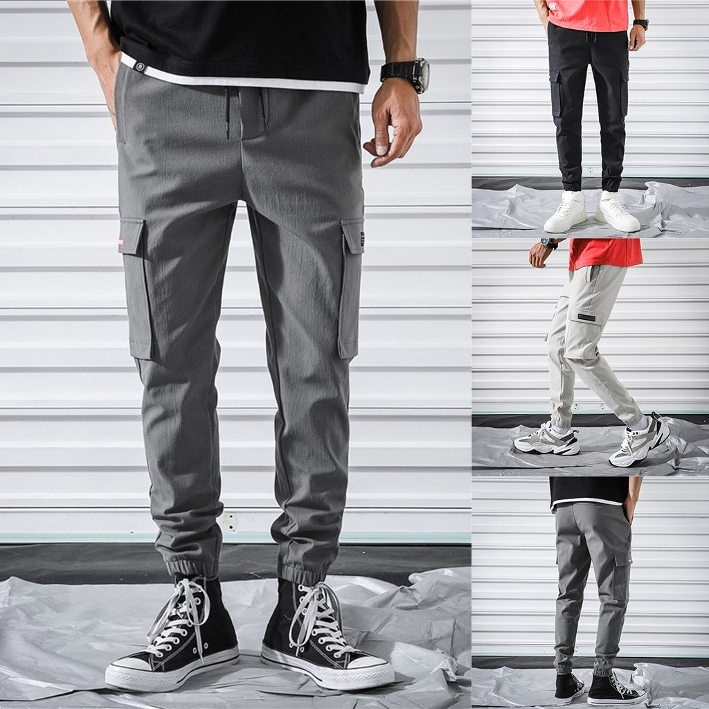 Drawstring Pants Overalls Pocket-Trousers Straight Men's Casual New-Fashion GH50 Hombre